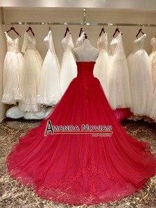 Image 3 - Платье на свадьбу, красное вино, со шнуровкой сзади, реальные фотографии, 2019