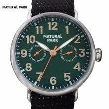Corea Del sur Marca de Moda Reloj de Cuarzo Reloj Casual NATURAL PARK hombres 2016 relojes hombre hecho a mano Correa De Nylon Resistente Al Agua