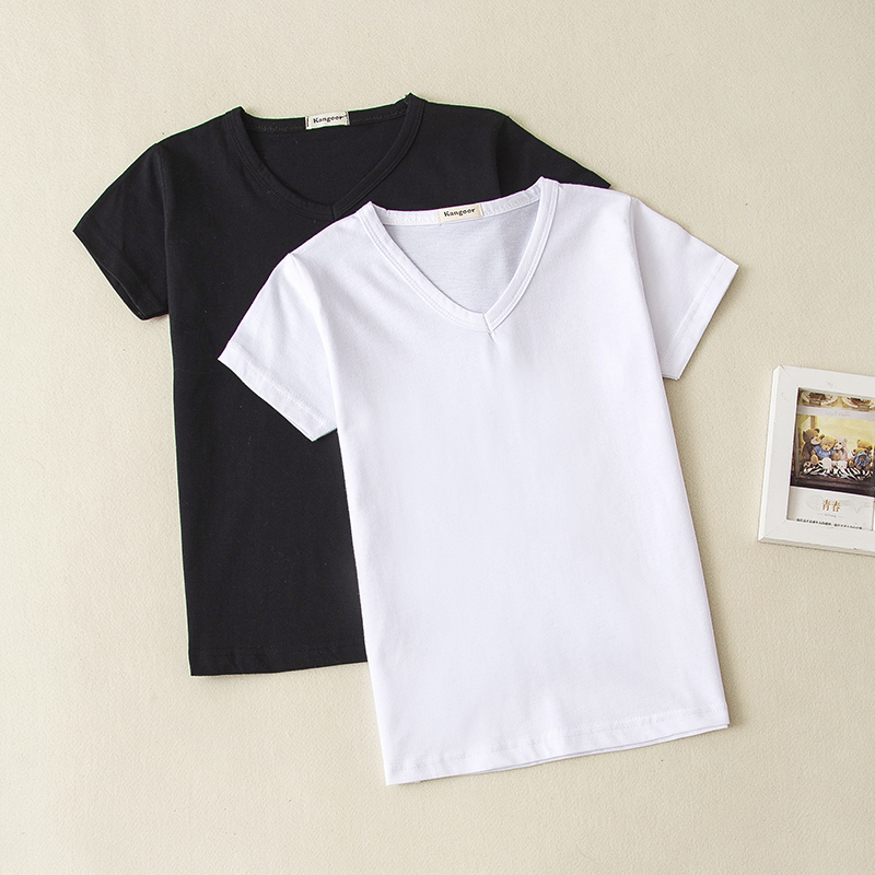 Girls Solid Basic Plain Cotton V Neck Tee Shirt Top