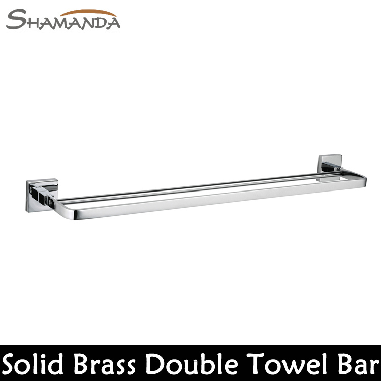 Free Shipping Bathroom Accessories Solid Brass Chrome Finished Double Towel Bar Bathroom Products Towel Holder Towel Rack-99009 free shipping bathroom products solid brass chrome single towel bar chrome towel holder towel rack bathroom accessories cs008d 2