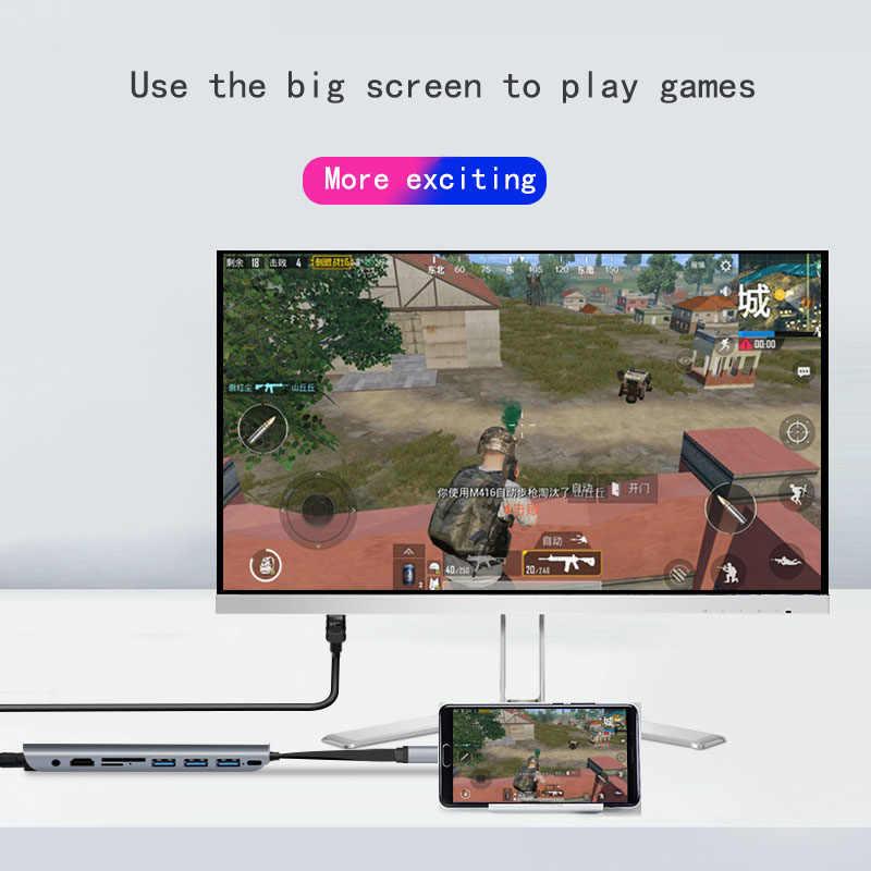 Док-станция с разъемом типа C HDMI, VGA, USB, концентратор питания для ноутбука Macbook Pro hp DELL Surface lenovo samsung Dock