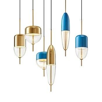 Postmodern blue/golden LED pendant lights living room hanging lamp Glass suspension luminaire restaurant bedroom fixtures