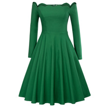 Vintage Long Sleeve Autumn Dress Women Off Shoulder Dresses Sexy Retro  Rockabilly 50s Casual Party Robe f296381ccf34
