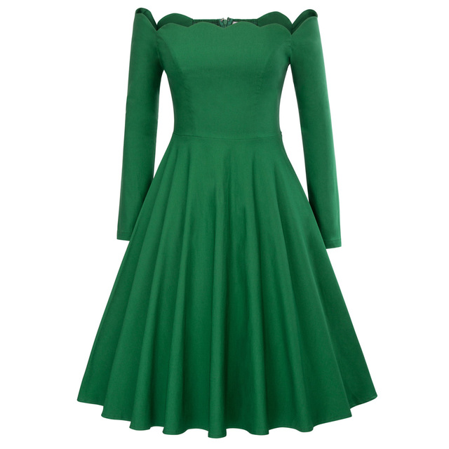 Vintage Long Sleeve Autumn Dress Women Off Shoulder Dresses Sexy Retro  Rockabilly 50s Casual Party Robe 0f3ee054c8d2