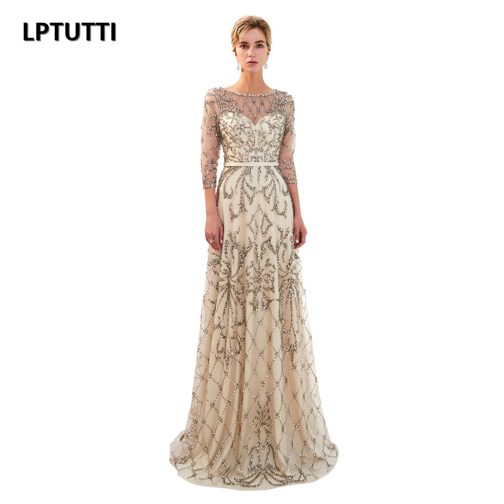 LPTUTTI Crystal Beading Plus Size New For Women Elegant Date Ceremony Party Prom Gown Formal Gala Luxury Long Evening Dresses 14