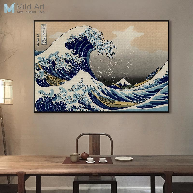 US $4 45 45% OFF Famous Classic Japanese Ukiyoe Posters Sea Wave Landscape  Sexy Girl Vintage Wall Art Picture Home Decor Canvas Painting No Frame-in