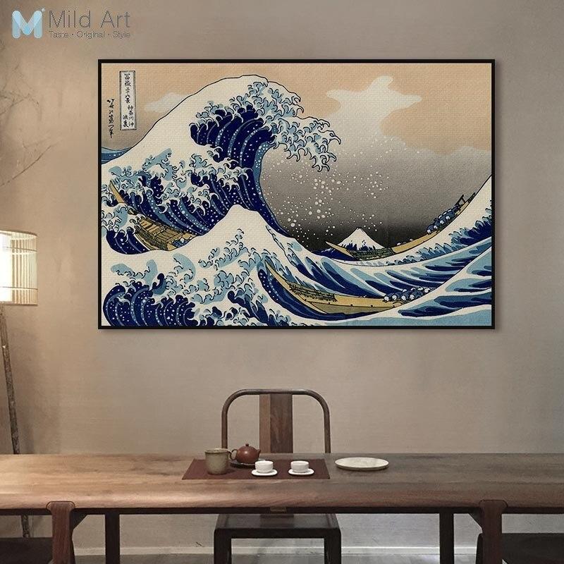 Famous Classic Japanese Ukiyoe Posters Sea Wave Landscape Ses