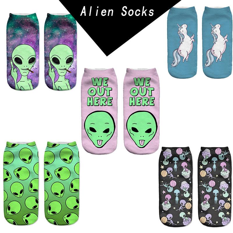 sokker kvinder lavt udskårne dyr 3D-trykte Alien grøn ombre wiz sjove nye chaussette femme harajuku ankelstrømper calzini