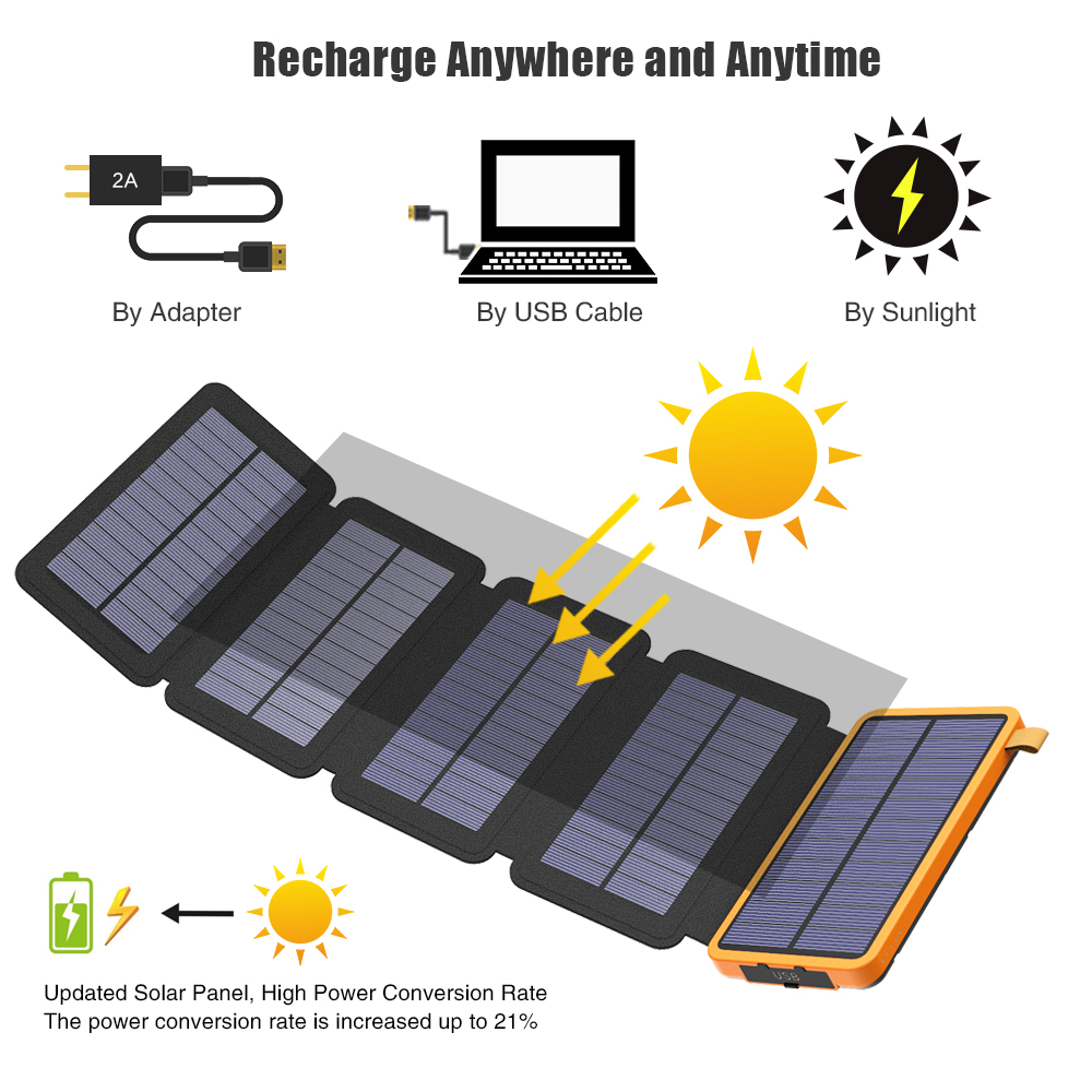 Image 2 - 20000mAh Solar Power Bank Dual USB Waterproof Solar Charger External Battery Power Charger with LED Light for Smartphone-in Power Bank from Cellphones & Telecommunications