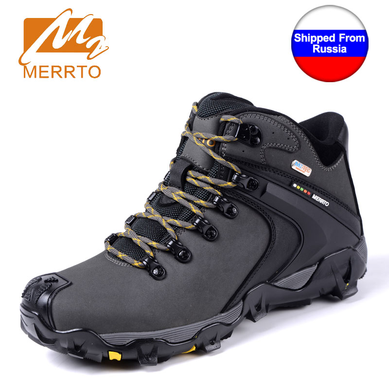 Shipped From Russia MERRTO Men Waterproof Hiking Shoes Snow Boots Professional Outdoor Cowhide Walking Boot Sneakers