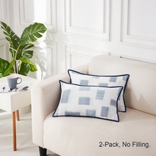 PHF Cotton Throw Pillow Cover 30*50 cm American style Yarn Dyed Muslin Pack of 2 No Filling  Blue Green Purple Color