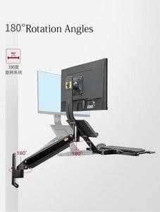 Image 5 - Nb MC32 アルミウォールマウント座るスタンドワークステーション 22 32 インチモニターホルダーガスストラットとキーボードトレイ回転液晶ブラケット