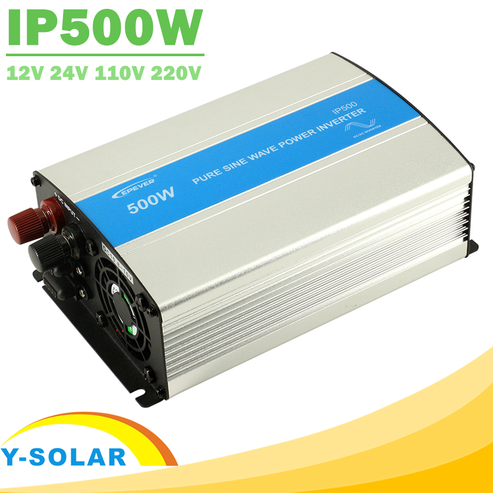 EPever IPower 500W 12V 24V DC Solar Panel Off Grid Tie Inverter 110V 220V AC Output Pure Sine Wave Inverter with 1A 5VUSB Output boguang 110v 220v 300w mini solar inverter 12v dc output for olar panel cable outdoor rv marine car home camping off grid