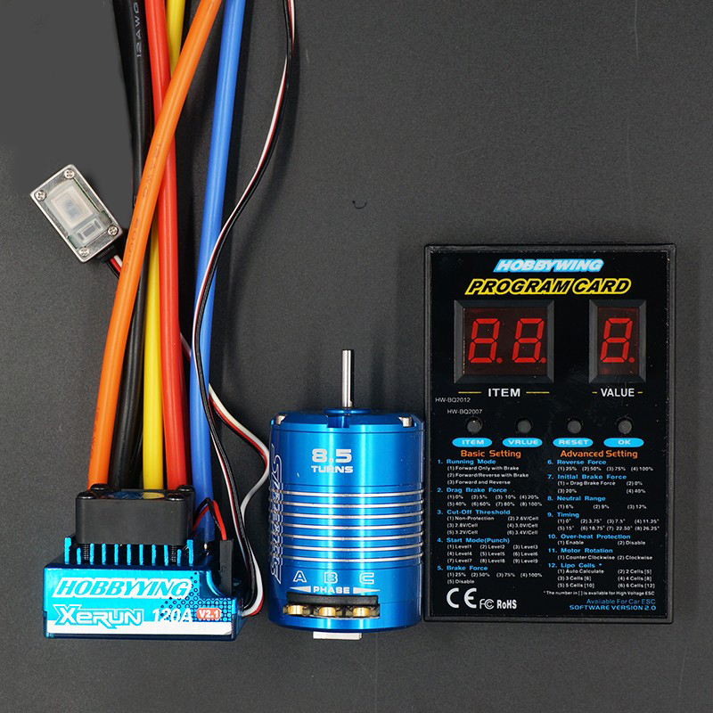 Sensored Brushless 3650 540 8.5T 13.5TMotor + HY 120A Waterproof Sensored ESC + Program Card Combo Set For 1/10 Rc CarTruck