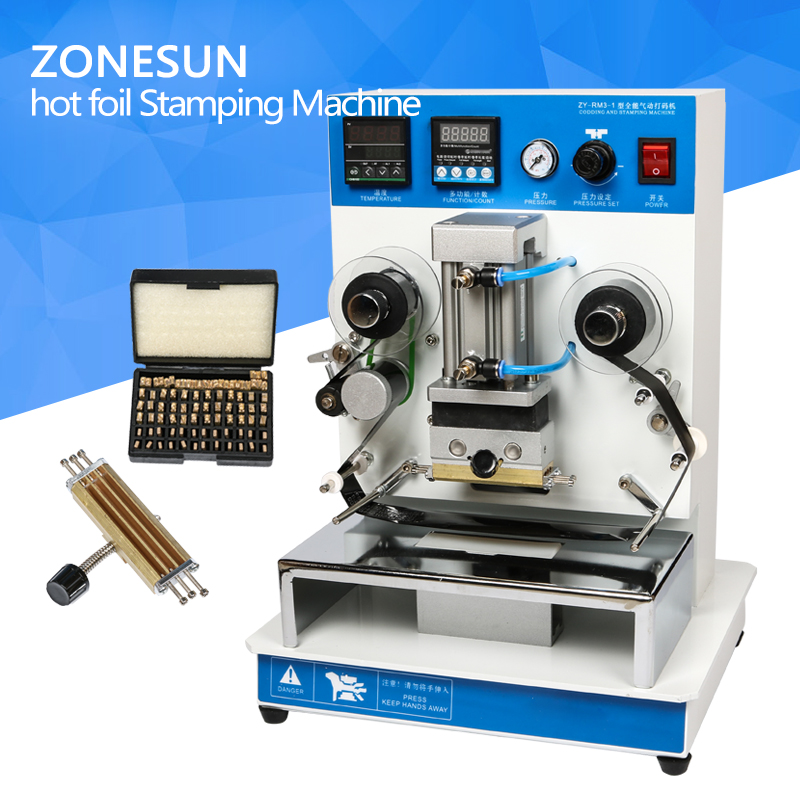 ZONESUN ZY-RM3 Automatic hot foil Stamping Machine,leather LOGO Creasing machine,LOGO stamper,Hot words machine hot stamping machine hot foil pneumatic stamping press logo printer for leather paper etc customized printable area zy 819b