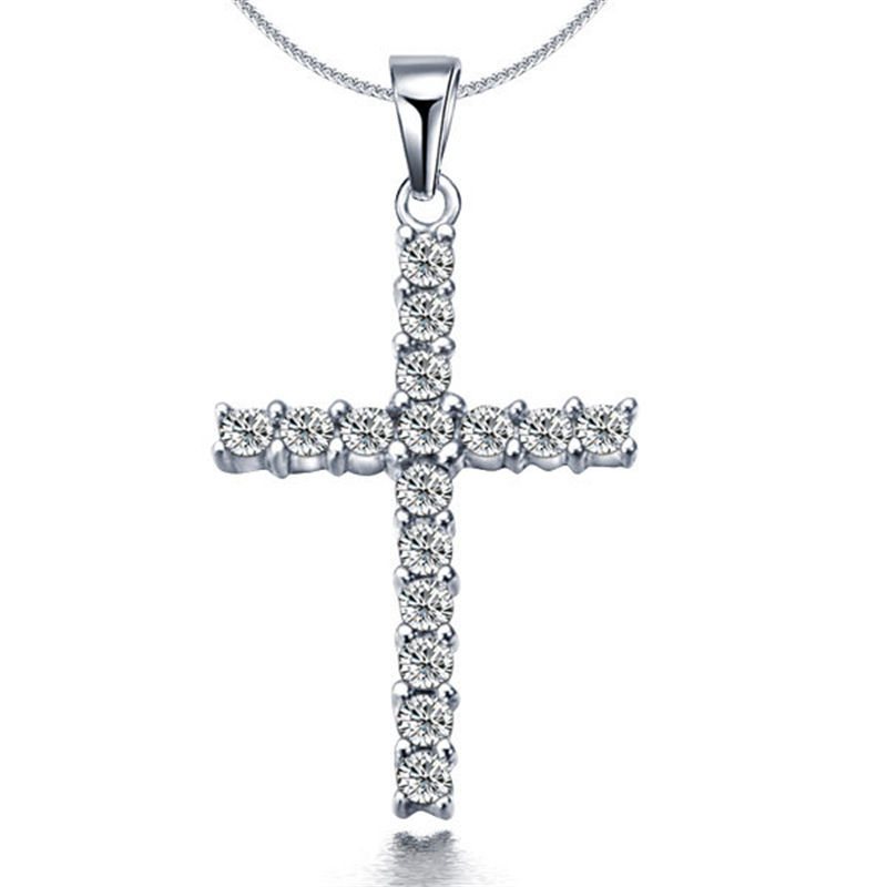 Rhinestone Pendant Necklace Chain Jewelry Druzy Girls Choker Simple-Collar Silver Cross