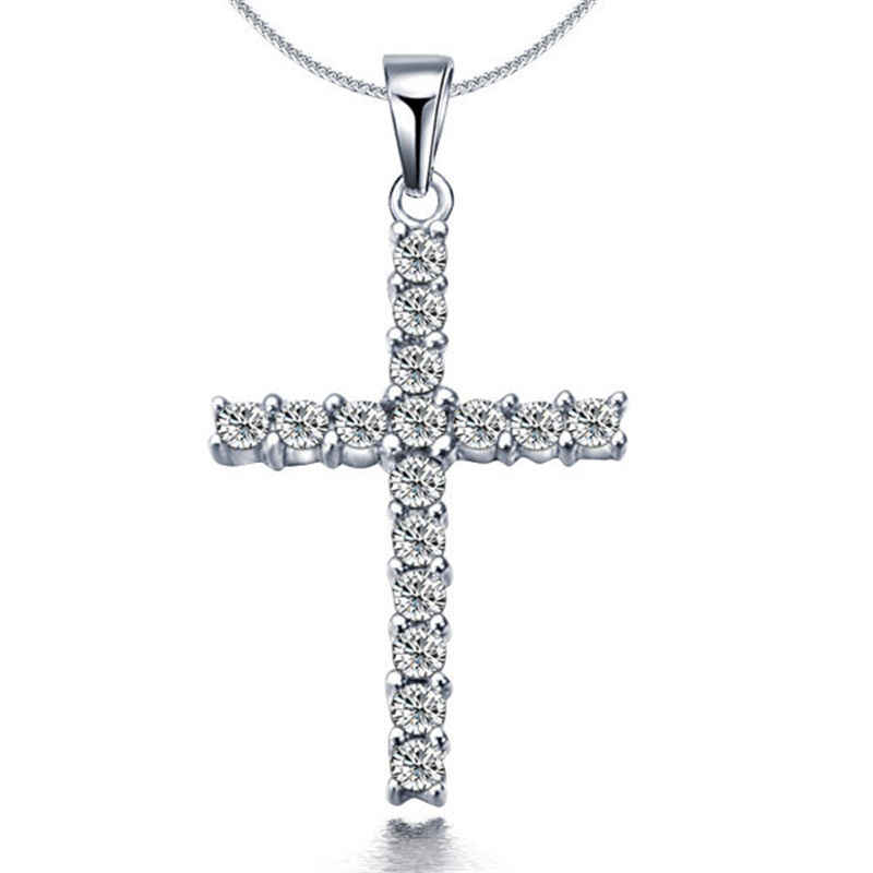 Druzy Shiny Silver Cross Rhinestone Pendant Necklace For Woman Sweet Simple Collar Girls Choker Femme Chain Jewelry Dropshipping