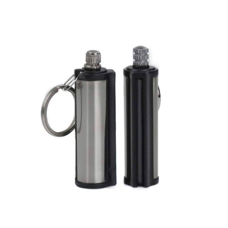 New Cylindrical Matching Creative Keychain Fashion Permanente Striker Lichter Match Silver Metalen Sleutelhanger To Clear Out Annoyance And Quench Thirst no Fuel