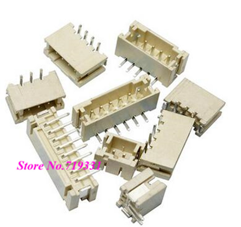 100pcs PH 2.0mm Vertical Male Connector Wafer SMD Socket PH Pitch Pin Header Heat Resistance 2p 3p 4pin 6p 14p