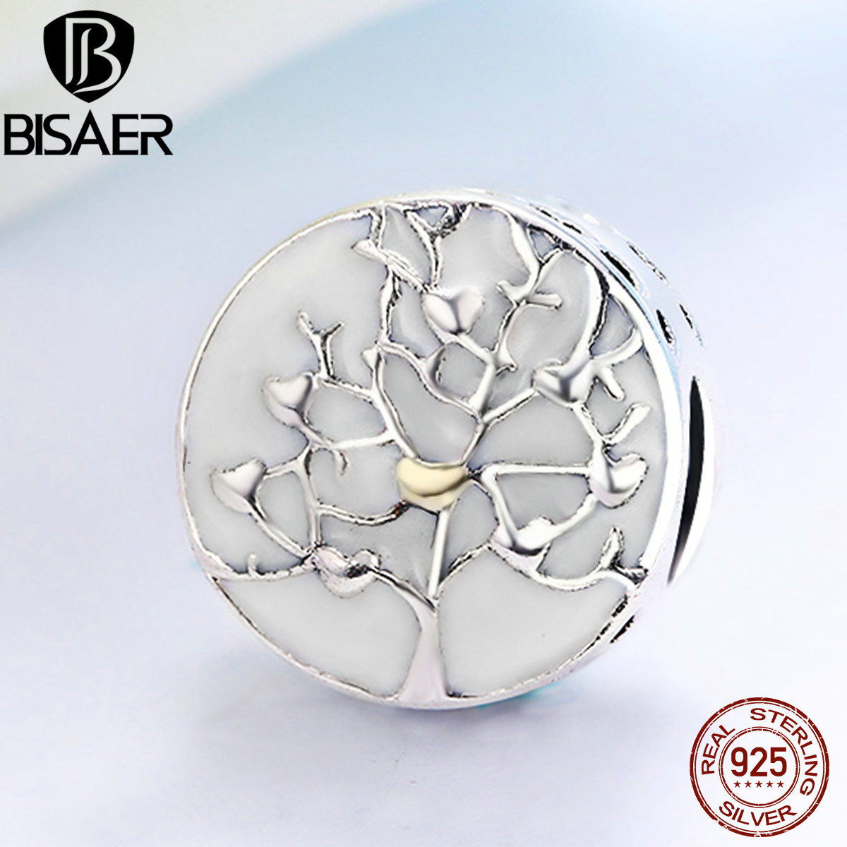 BISAER 925 Sterling Silver Tree Of Gold Hearts, Silver Enamel Beads fit Pandora Charms Bracelets DIY Accessories HTC102