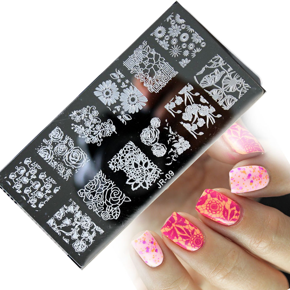 001 20 20Styles Image PlateS for stamping nail art stencil template metal various patterns flowers full cover lace rectangle in Nail Art Templates from Beauty Health