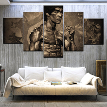 лучшая цена 5Panel HD Printed China kung fu start Bruce lee wall posters Print On Canvas Art Painting For home living room decoration
