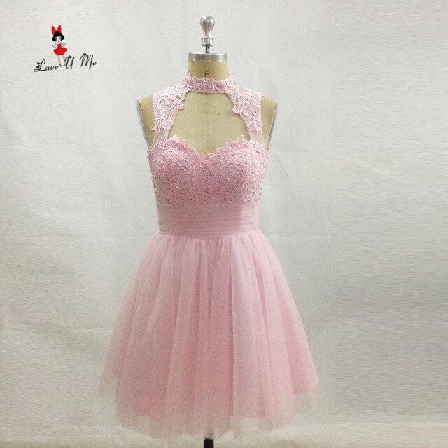 e0df36929 Modest Barato Rosa Vestido de Fiesta de Graduación Del Partido Corto de  Encaje Vestidos de Gasa