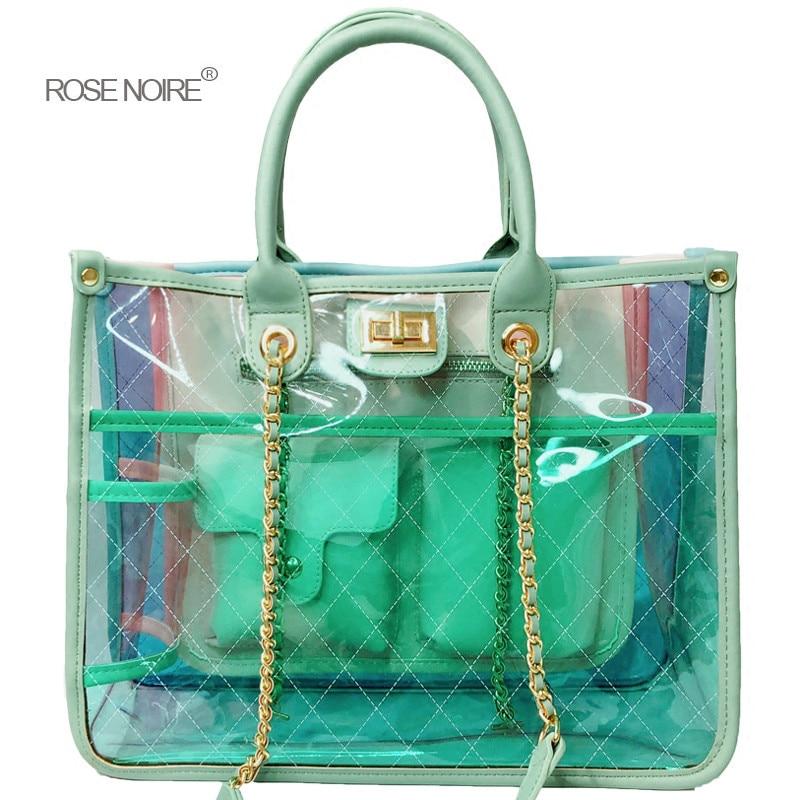Famous Brand PVC Women Tote Clear Jelly Transparent Big Bag Large Lady Handbags Female Beach Bag Chain Shoulder Bag louis gg bag стоимость