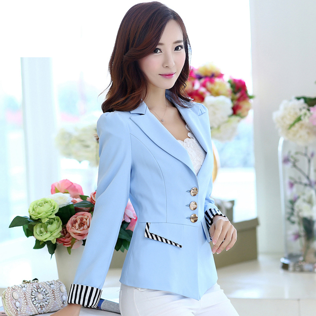 1db45b7217d 2017 New Korean Fashion Jacket Women Suit Slim Cany Color Patchwork Single  Breasted Formal Coats Women