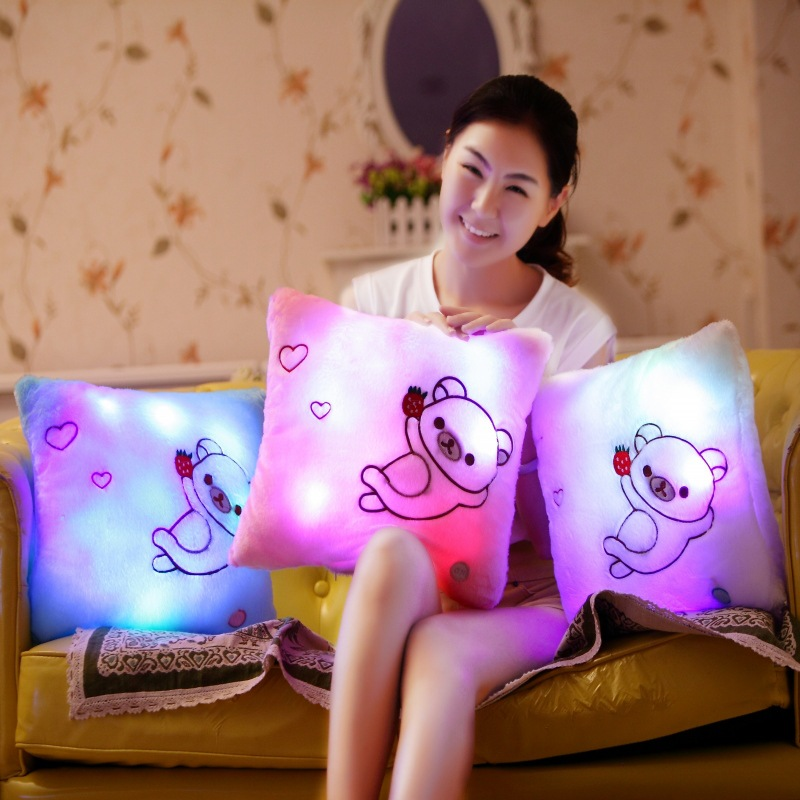 Cute Rilakkuma Plush Pillow Toys with Led Light Glow in Dark Children Kids Night Light Toys Birthday Gift