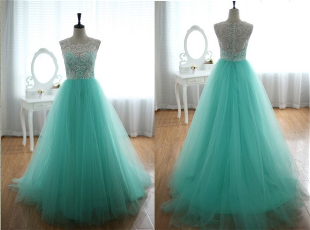 White and Blue Lace and Tulle   Prom   Ball Gown Tulle Party   Dress   See Through Long Evening Gowns with Button Back