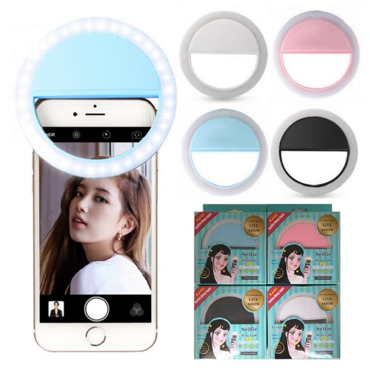 10PC Ring LED Portable Light Case Phone Light Beauty Selfie Ring Flash Fill Light For IPhone 5 6 6s Plus 7 7 Plus Samsung S6 S7