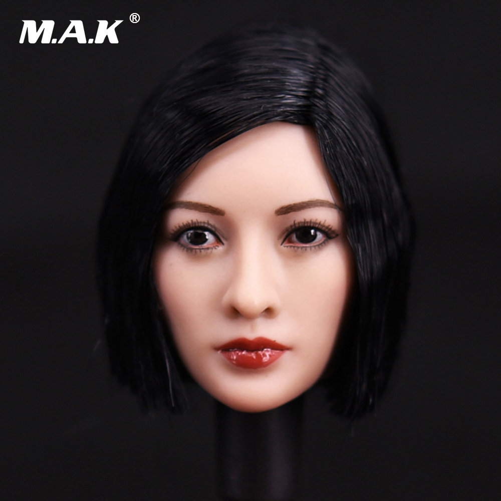 1/6 Scale Asian Female Head Sculpt Short Black Hair Headplay Model For 12 Body Figures mak custom 1 6 scale hugh jackman head sculpt wolverine male headplay model fit 12kumik body figures