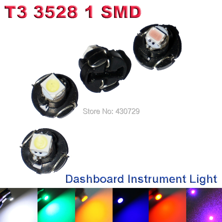 6X T3 LED 3528 1210 SMD Car Gauges Lights Auto Dashboard Light Dash Lamp Cluster Bulbs For Car DC12V 6Colors