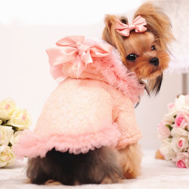 Girl Dog Clothes Winter Female Dog Coat Pink Cute Lace Fleece Lined