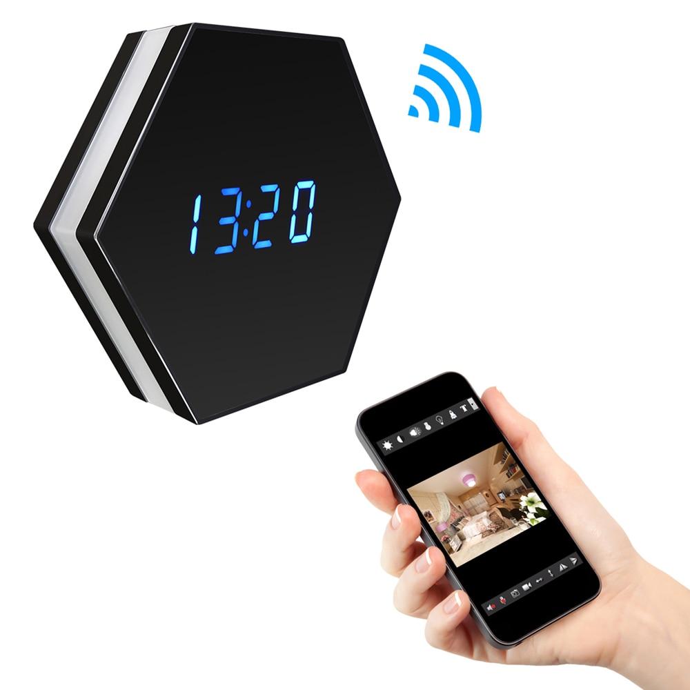 Remote Wireless Wi-Fi Camera with Time Display Night Color Mirror Electronic Clock Wifi Baby Monitor 1080p Audio Mini IP Camera