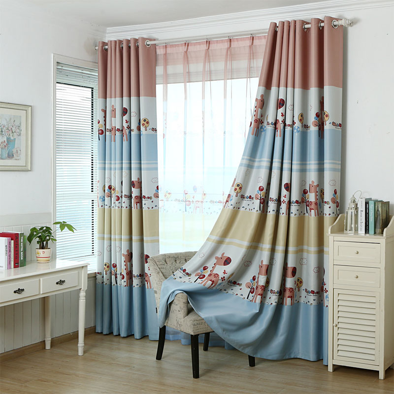 Giraffe printed curtains for kids blackout curtains drapes - Childrens bedroom blackout curtains ...