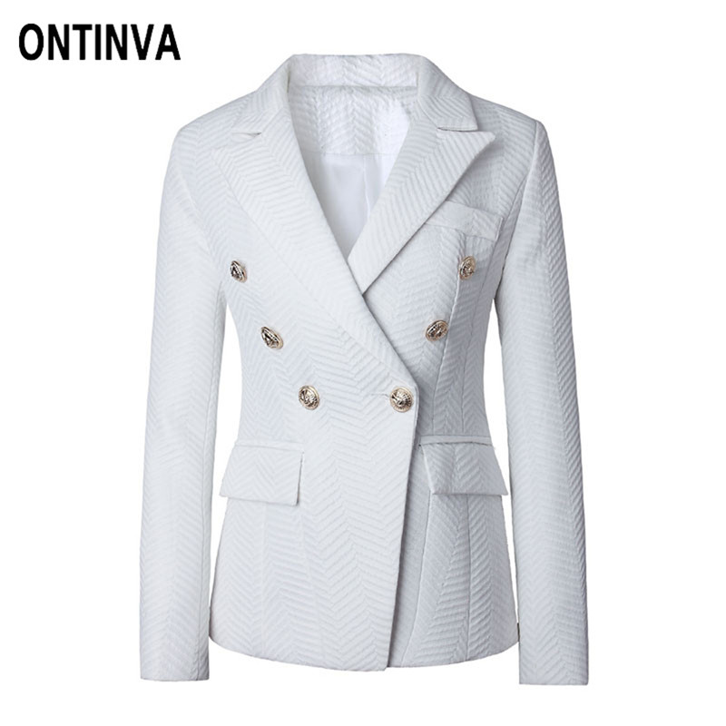 2018 Ladies White Black Red Blazer Double Breasted Formal Jacket