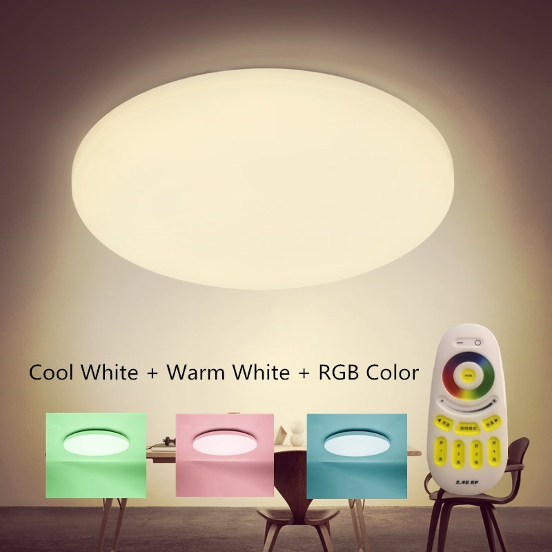 NEW Modern LED Ceiling Light With 2.4G RF Remote Group Controlled Dimmable Color Changing Lamp For Livingroom Bedroom AC165-245v wf820 e27 smart phone led wi fi controlled sunrise wake up multicolored color changing disco light sleeping dimmable