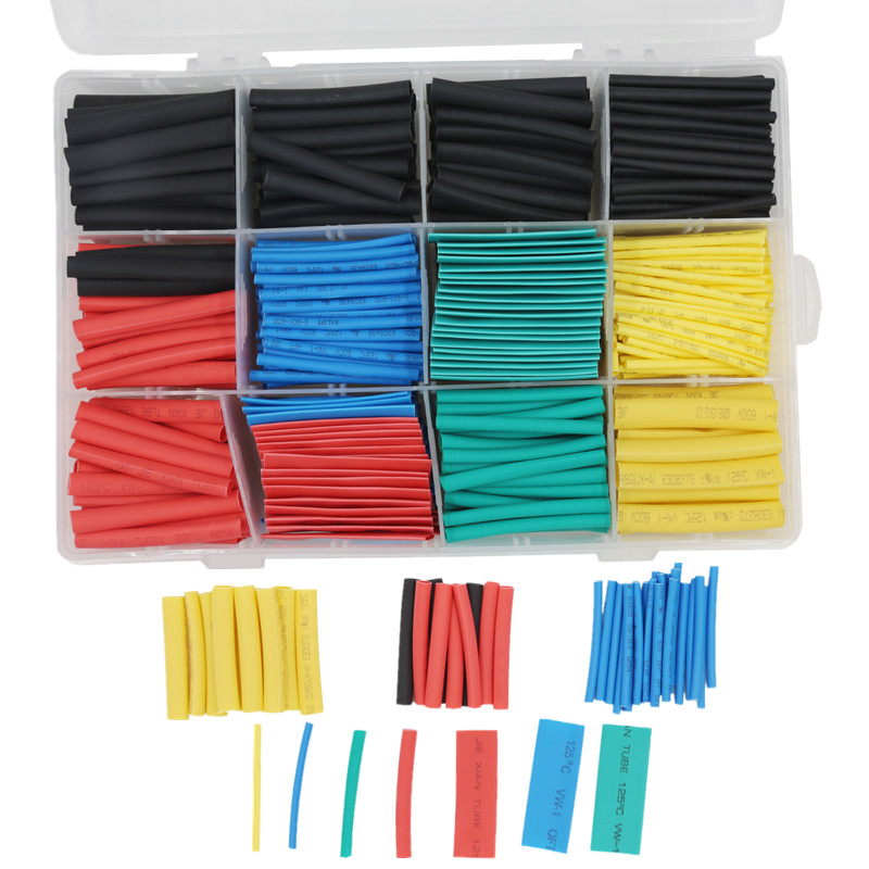 Avec boîte de détail 530 pièces 2:1 thermorétractable Tube gaine câble enroulé fil 5 couleur 8 taille 40% Off