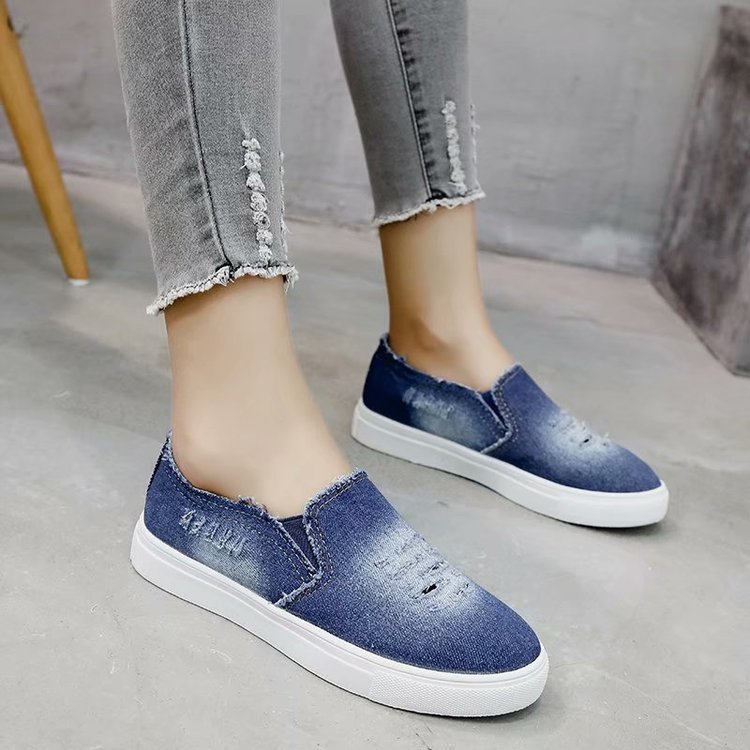 2018 Canvas Shoes Sneakers Women Shoes Soft Comfortable Rubber Sole Denim Flat Fashion Student Vulcanized Shoes Female Sneakers