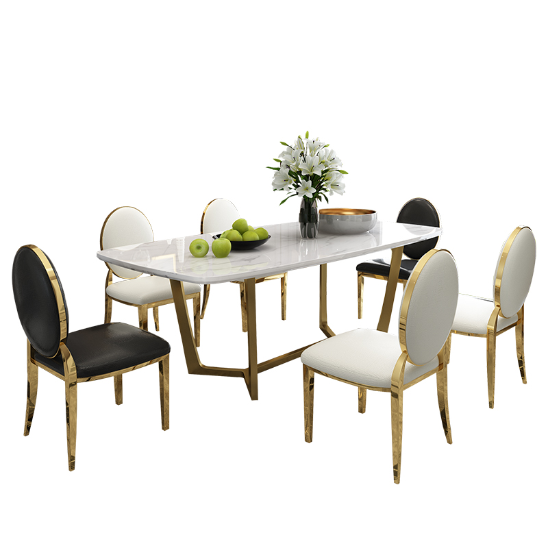 Designer Unique New Stainless Steel Golden Dining Room Set With Marble Table And 6 Leather Chairs Mesa De Jantar Muebles Comedor