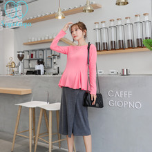 c281157735b59 2073# Sweet Maternity Clothing Sets Pink Shirt Top + Belly Pantskirt  Elegant OL Office Work