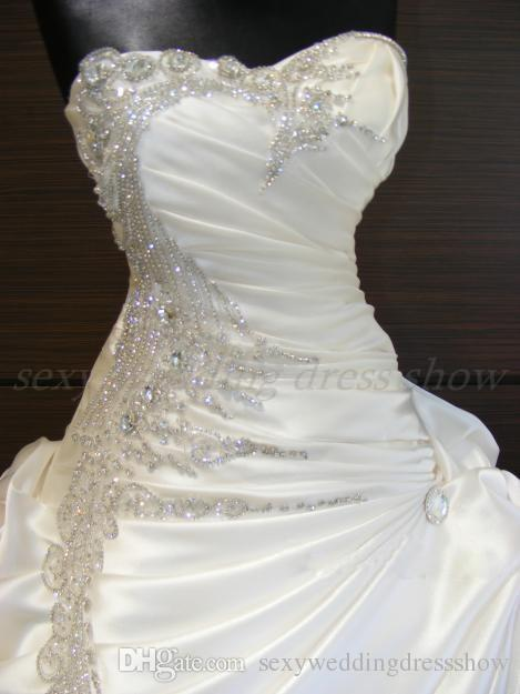 Bling Luxury Ball Wedding Dress Sweetheart Lace Up Corset Draped Pick Up  Skirt Beads Crystal Sexy Court Train Wedding Gown-in Wedding Dresses from  Weddings ... 16242378712b