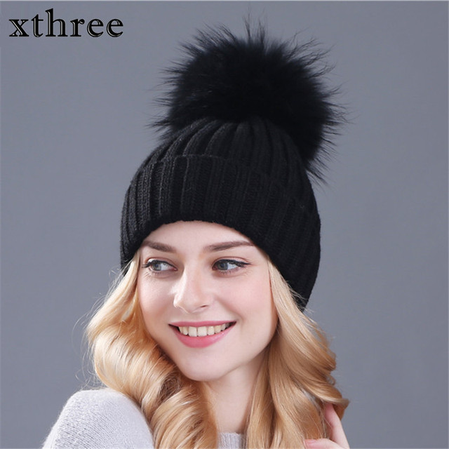 xthree real mink fur colour pom poms winter hat for women girl  s hat  knitted beanies cap thick female cap e0f3d1f7ebba