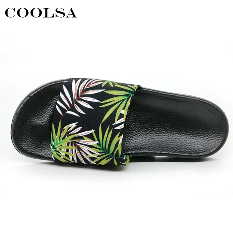 Coolsa Summer Women Printing Flip Flops Canvas Print Leaves Female Soft Flat Slides Indoor Slippers Fashion Casual Beach Sandals 3