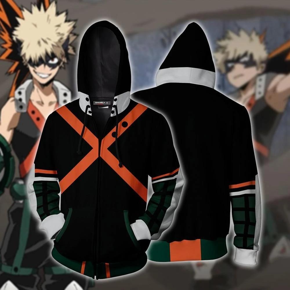 My Hero Academia Bakugou Katsuki Cosplay Costume Sweatshirt Zip Up Jacket Coat