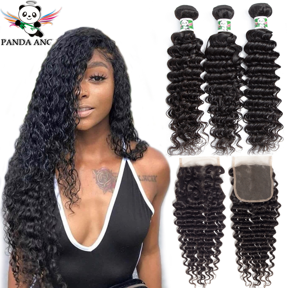 8A Brazilian Deep Wave Bundles With Closure Human Hair 3 Bundles With Closure Brazilian Hair Weave Bundles With Closure Cabelo