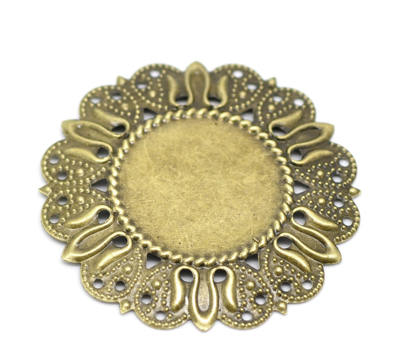 DoreenBeads Alloy Connectors Round Antique Bronze Cabochon Settings (Fits 25mm ) 4.9mm( 2/8