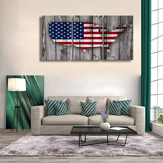 Wooden Flag Wall Pictures for Living Room Rustic American ...